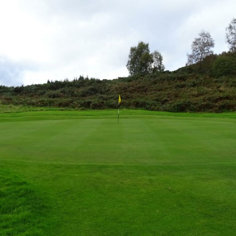 The 14th green slopes from right to left